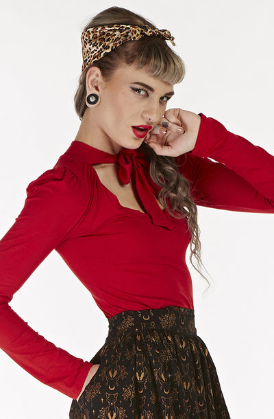 Retro Red long sleeve pussybow top - Bonsai Kitten retro clothing