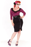 Poison pencil skirt - black & white - Bonsai Kitten retro clothing