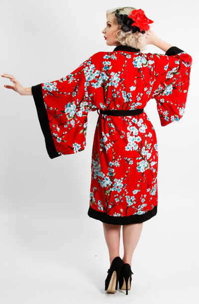 Black & Red Cherry Blossom Vintage Gown