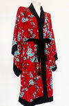 Black & Red Cherry Blossom Vintage Gown - Curvy