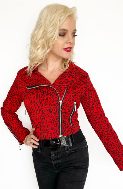 Red Leopard Biker Jacket