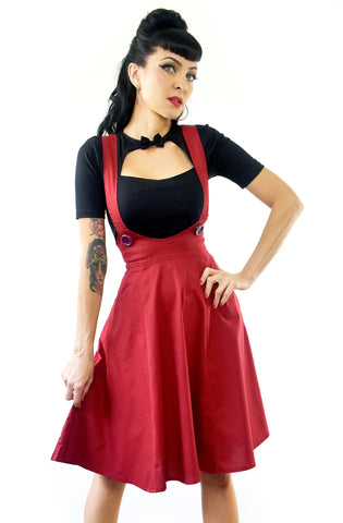 Dark Red Dolly pinafore