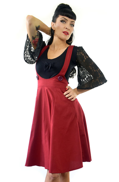 Dark Red Dolly Long Pinafore