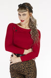 Cherry Sass Top Long Sleeve - Bonsai Kitten retro clothing, pin up clothing