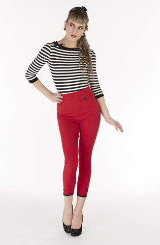 Retro red cigarette pants - Bonsai Kitten retro clothing