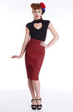 Red houndstooth pussycat skirt - Bonsai Kitten retro clothing