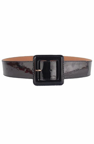 Black patent cinch belt