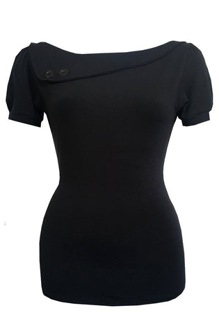 Black Sass Short Sleeve Top Curvy