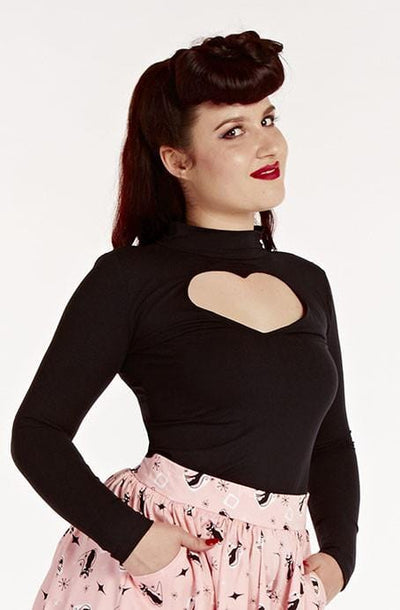 Black Badlove top - Bonsai Kitten retro clothing, pin up clothing