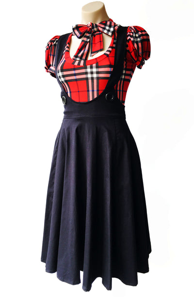 Dolly circle pinafore - Bonsai Kitten retro clothing, pin up clothing