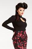 Black Retro Peephole Top, Long sleeve