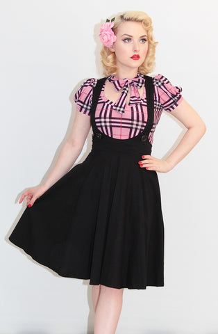 Black circle skirt pinafore - Bonsai Kitten retro clothing, pin up clothing