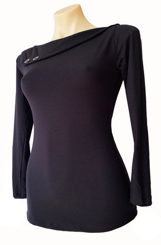 Black Sass Top Long Sleeve - Bonsai Kitten retro clothing, pin up clothing