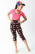 Black & Pink Dinosaur Crop Capri Pants