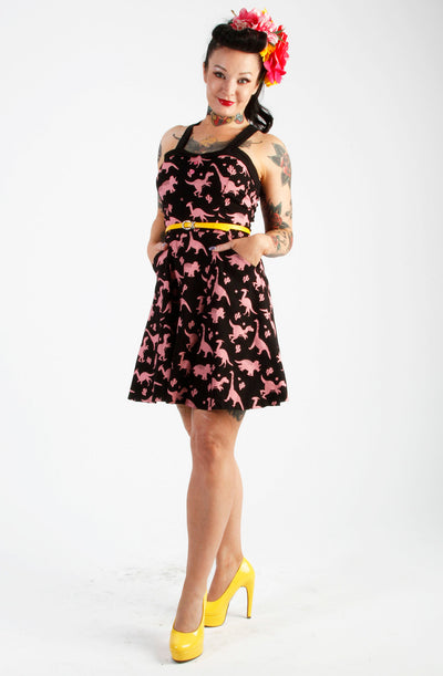 Black & Pink Dinosaur Skater Dress