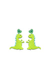 Green dinosaur drop earrings