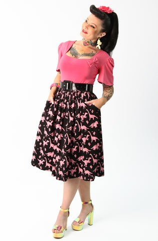 Black & Pink Dinosaur Gathered Skirt