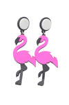 Flamingo earrings - Bonsai Kitten retro clothing, pin up clothing