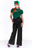Black Hepburn swing pants - Bonsai Kitten retro clothing, pin up clothing