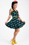 Black & Green Dinosaur Skater Dress