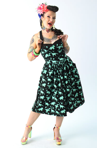 Black & Green Dinosaur Gathered Skirt