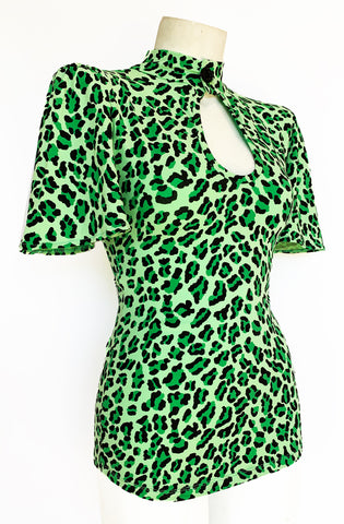 Green Leopard Peephole Top