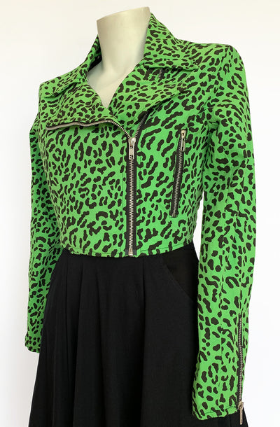 Green Leopard Biker Jacket