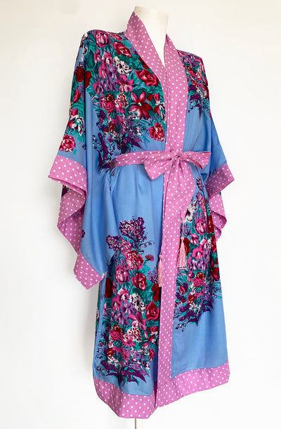 Blue Cherry Blossom Vintage Gown - Curvy