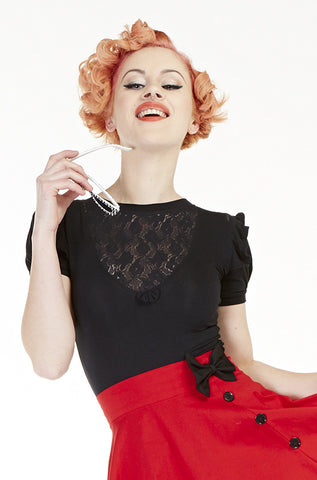 Scarlet Lace Top, Short Sleeves - Bonsai Kitten retro clothing