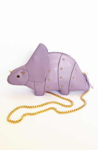 Purple Triceratops handbag