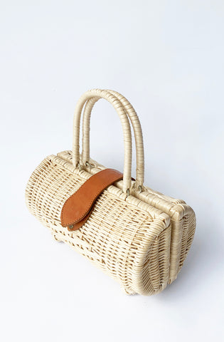 Vintage Style Rattan Handbag - natural - Bonsai Kitten retro clothing