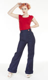 Navy Denim Swing Pants - Bonsai Kitten retro clothing