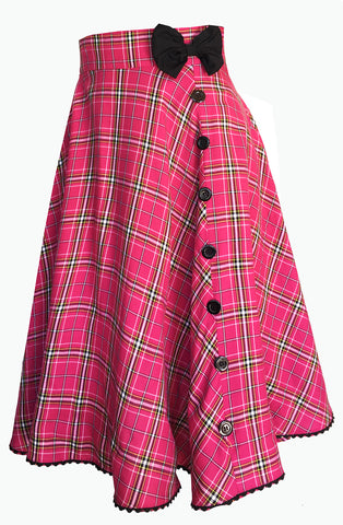 Pink tartan bow skirt - Bonsai Kitten retro clothing