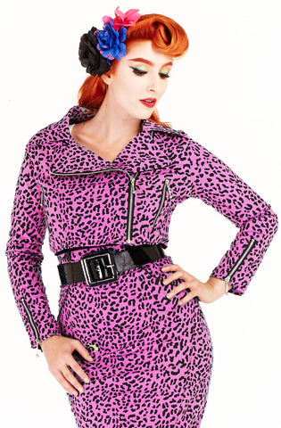 Biker Jacket pink leopard - Bonsai Kitten retro clothing, pin up clothing