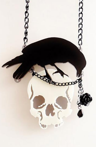 Skull and Raven necklace - Bonsai Kitten retro clothing