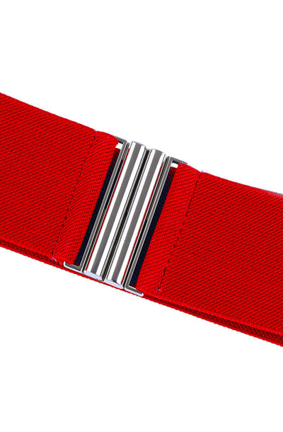 Elastic cinch belt - red - Bonsai Kitten retro clothing, pin up clothing