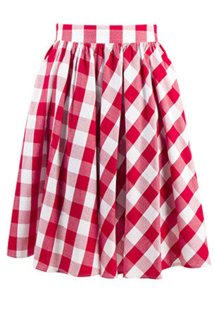 Gathered gingham skirt - red
