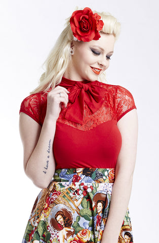 Red Kitty kat bow top - Bonsai Kitten retro clothing