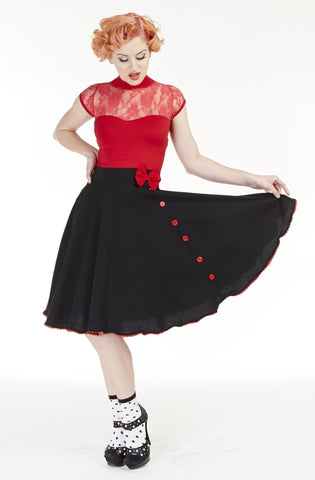 Love Lucy, Classic Black Bow Skirt - Bonsai Kitten retro clothing, pin up clothing