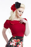 Cherry Sass Short Sleeve Top - Bonsai Kitten retro clothing, pin up clothing