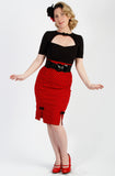 Red Rouge polkadot pencil skirt