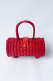 Vintage Style Rattan Handbag - red - Bonsai Kitten retro clothing