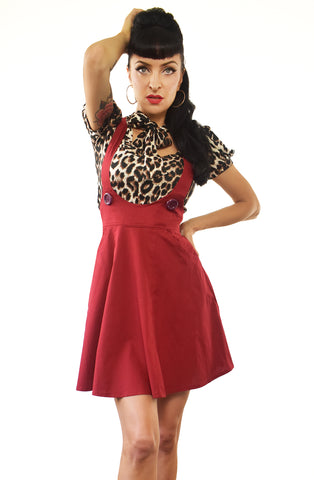 Dark Red Skater pinafore