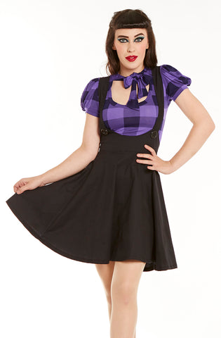 Black Skater pinafore - Bonsai Kitten retro clothing, pin up clothing