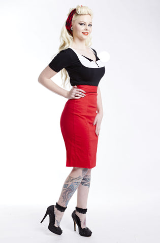 Retro red pencil skirt