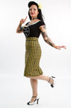 Villain Houndstooth Pencil Skirt