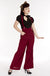 Dark Red Suspender Swing Pants