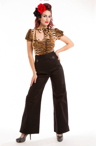 Black sailor pants - Bonsai Kitten retro clothing, pin up clothing
