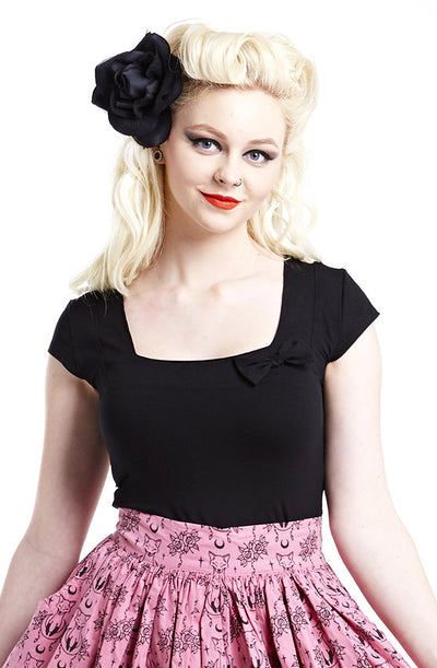 Black trouble maker top - Bonsai Kitten retro clothing, pin up clothing