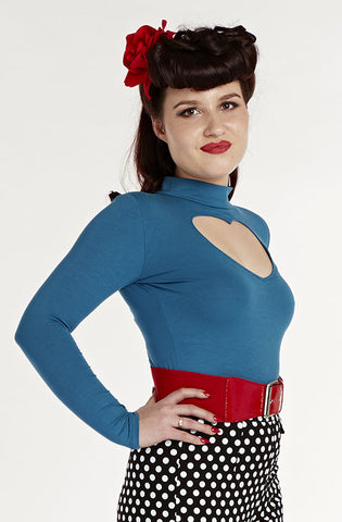 Teal Badlove top - Bonsai Kitten retro clothing